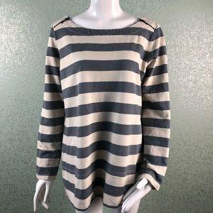 Loft XL Striped Long Sleeve Top